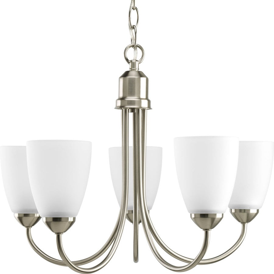Progress Lighting Gather 20.5-in 5-Light Brushed Nickel Etched Glass Shaded Chandelier