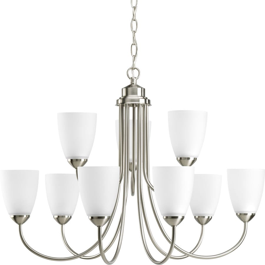 Progress Lighting Gather 27.75-in 9-Light Brushed Nickel Etched Glass Tiered Chandelier