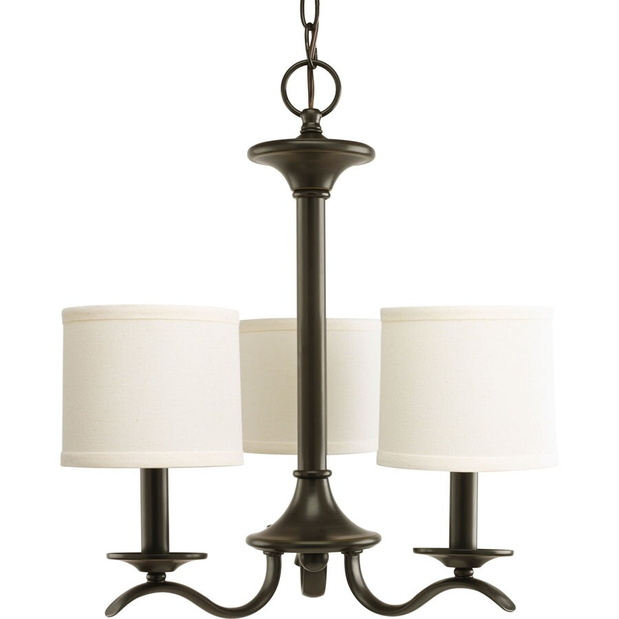 Progress Lighting Inspire 17-in 3-Light Antique bronze Shaded Chandelier