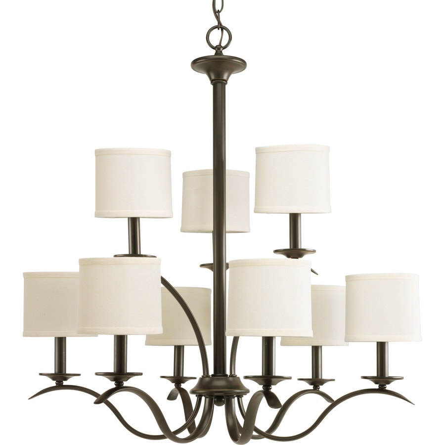 Progress Lighting Inspire 29.375-in 9-Light Antique bronze Tiered Chandelier