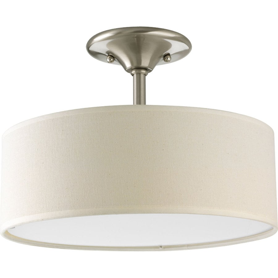 Progress Lighting Inspire 13-in W Brushed Nickel Fabric Semi-Flush Mount Light