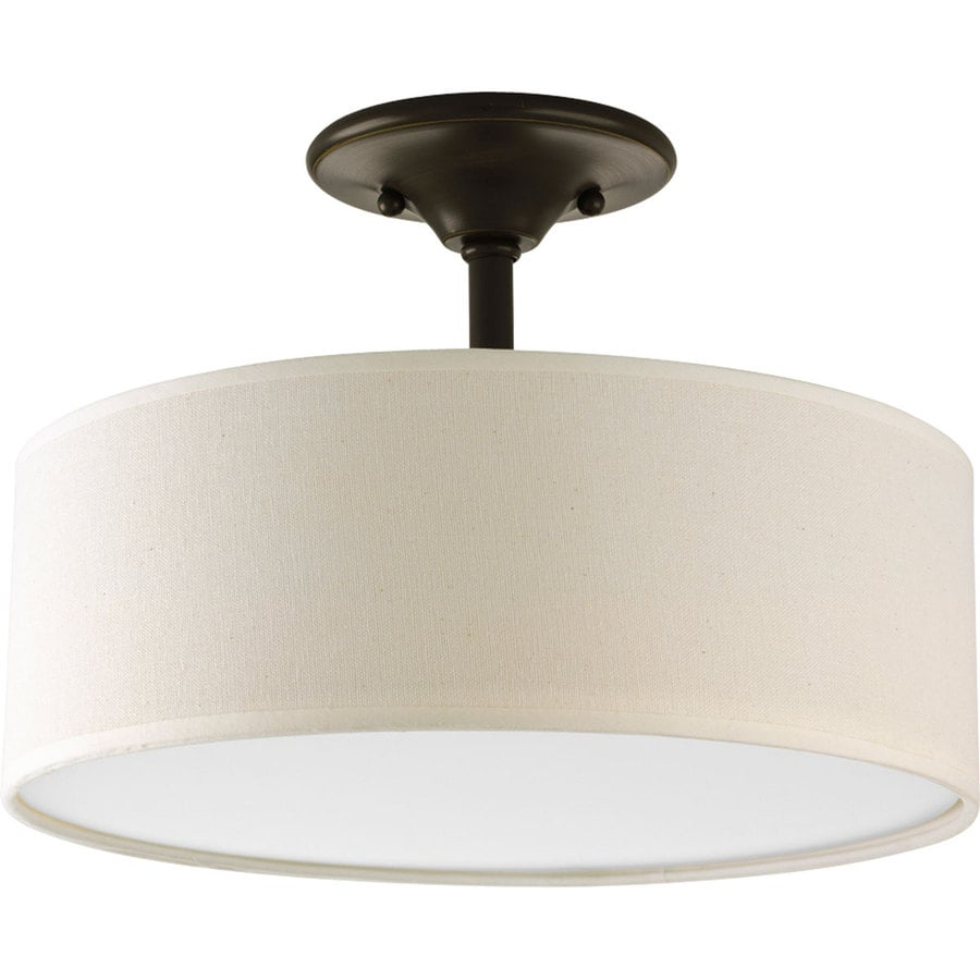Progress Lighting Inspire 13 In W Antique Bronze Fabric Semi Flush Mount Light