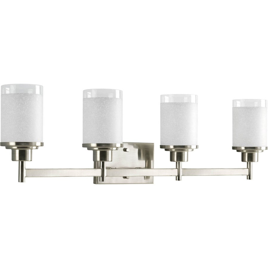 4 Light Brushed Nickel Vanity Lights : Shop Progress Lighting Alexa 4-Light 9.5-in Brushed Nickel Bell Vanity Light at Lowes.com