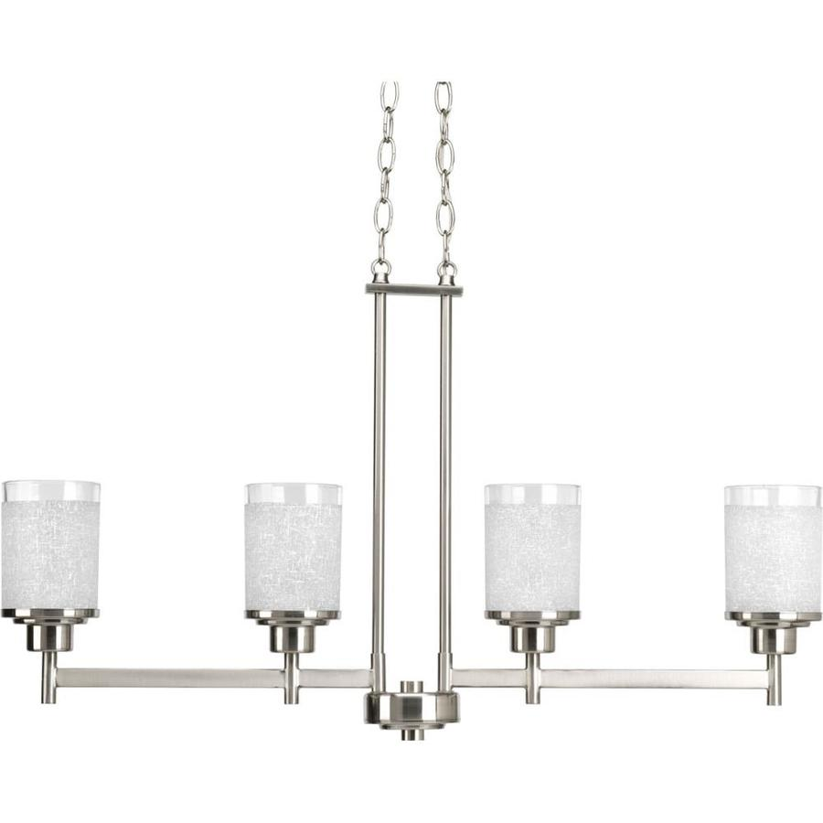 Progress Lighting Alexa 34-in 4-Light Brushed Nickel Shaded Chandelier