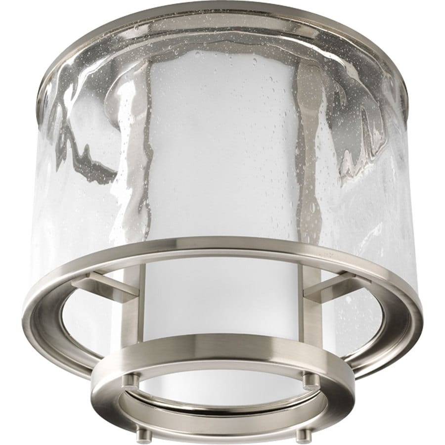 Progress Lighting Bay Court 11.62-in W Brushed Nickel Outdoor Flush-Mount Light