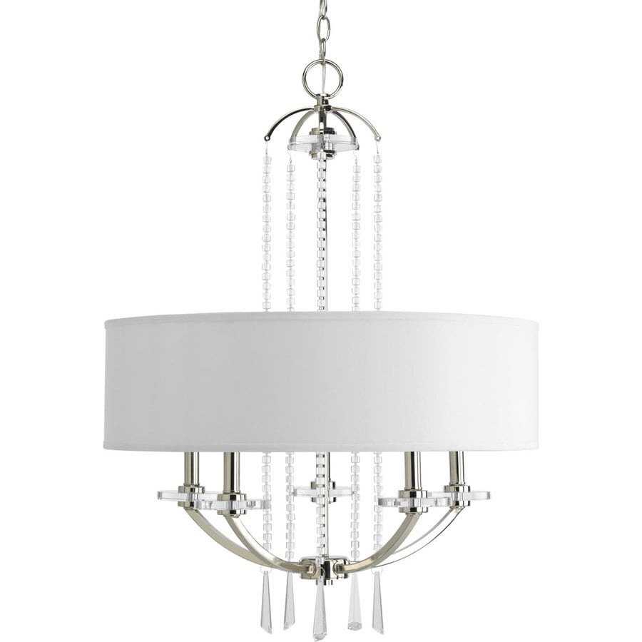 Progress Lighting Nisse 24-in 5-Light Polished Nickel Shaded Chandelier