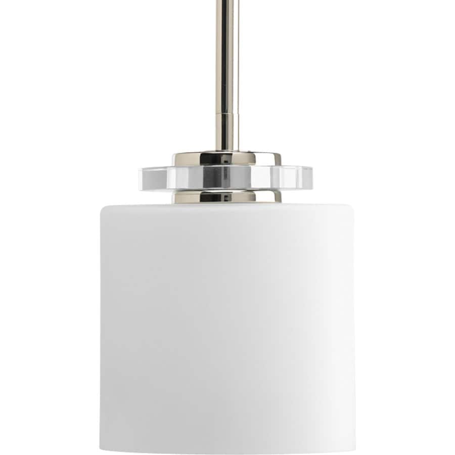 Progress Lighting Nisse 5.5-in Polished Nickel Mini Etched Glass Bell Pendant