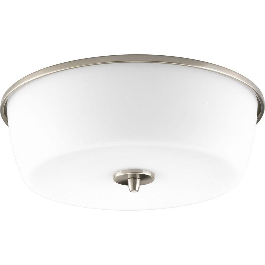 Progress Lighting Divot 15.625-in W Brushed Nickel Ceiling Flush Mount Light