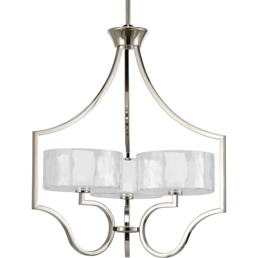 Progress Lighting Caress 22-in 3-Light Polished nickel Clear Glass Shaded Chandelier