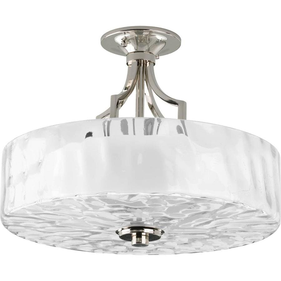 Progress Lighting Caress 16-in W Polished nickel Frosted Glass Semi-Flush Mount Light
