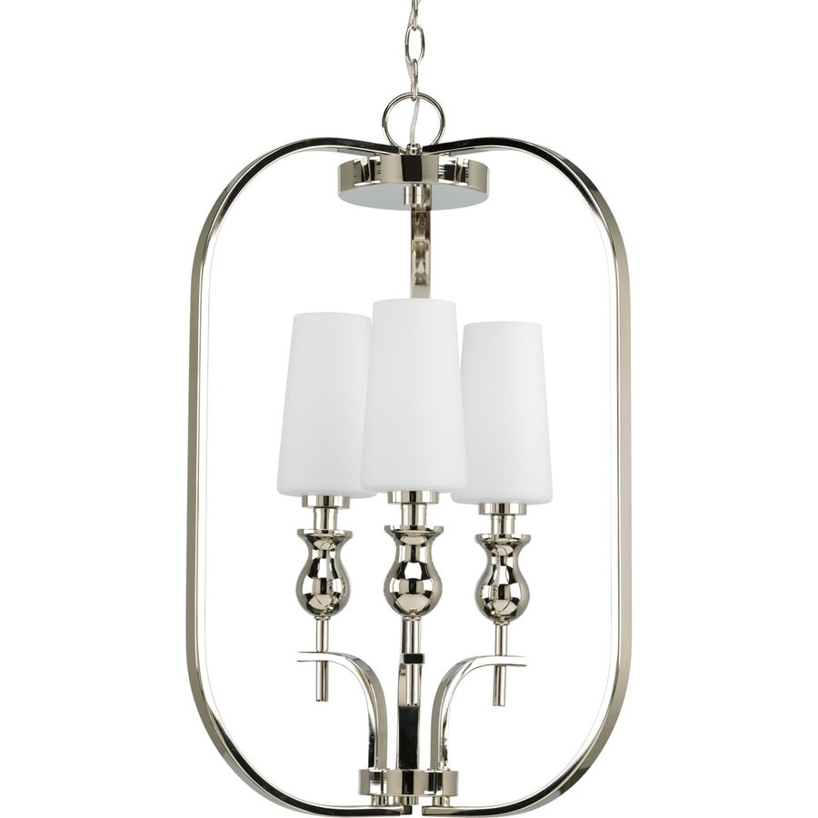 Progress Lighting Ladyluck 18-in 3-Light Polished Nickel Shaded Chandelier