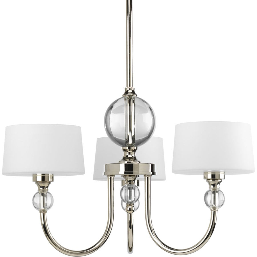 Progress Lighting Fortune 20-in 3-Light Polished Nickel Etched Glass Shaded Chandelier