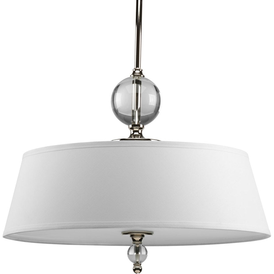 Progress Lighting Fortune 20.25-in Polished Nickel Single Textured Glass Pendant