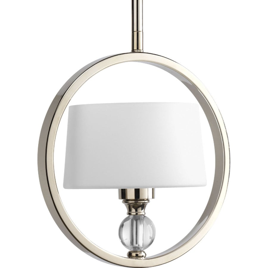Progress Lighting Fortune 8.875-in Polished Nickel Mini Etched Glass Pendant