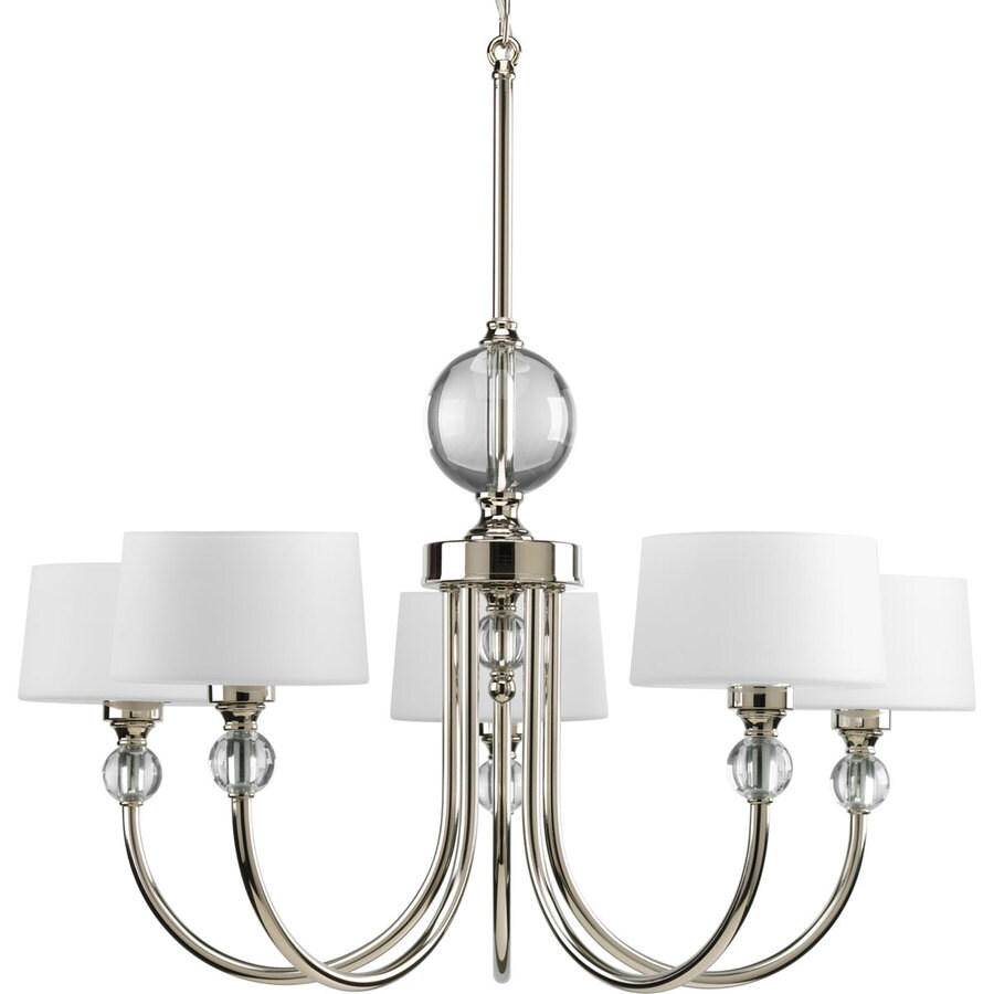 Progress Lighting Fortune 26-in 5-Light Polished Nickel Etched Glass Shaded Chandelier