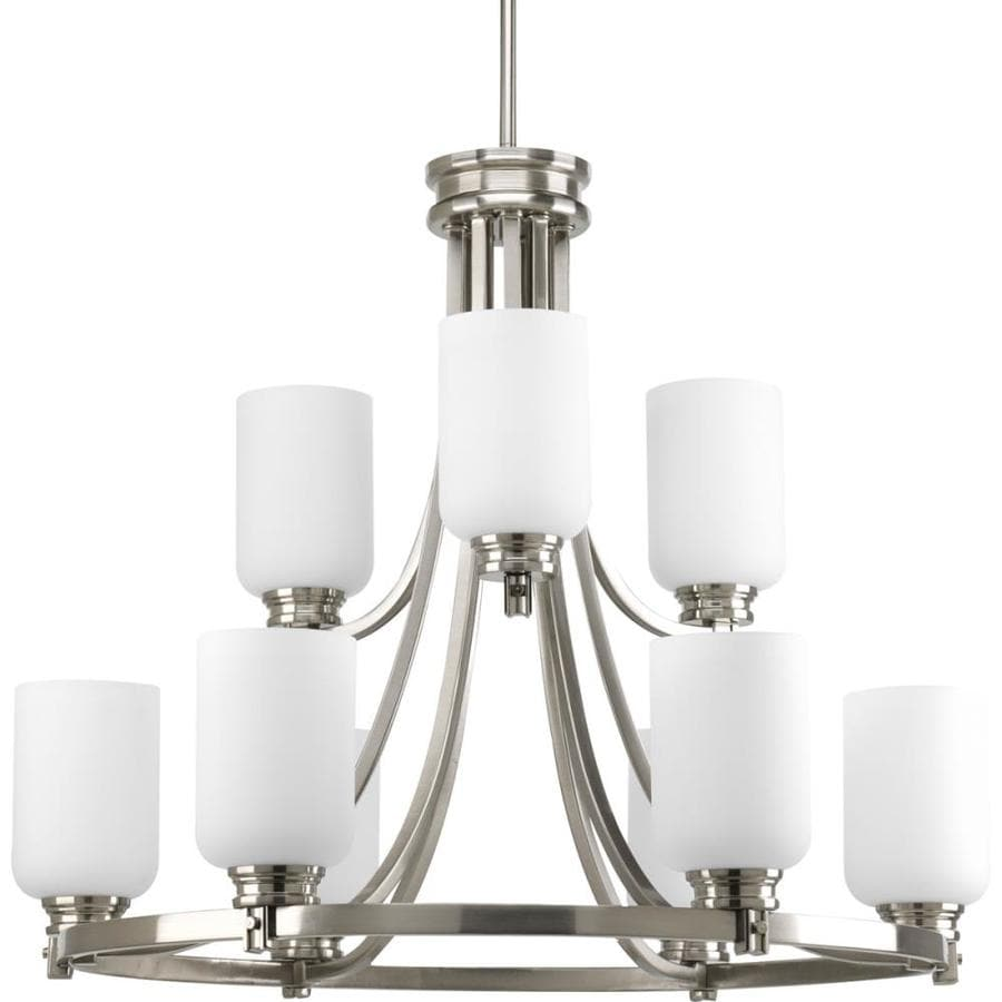 Progress Lighting Orbitz 27-in 9-Light Brushed Nickel Etched Glass Tiered Chandelier