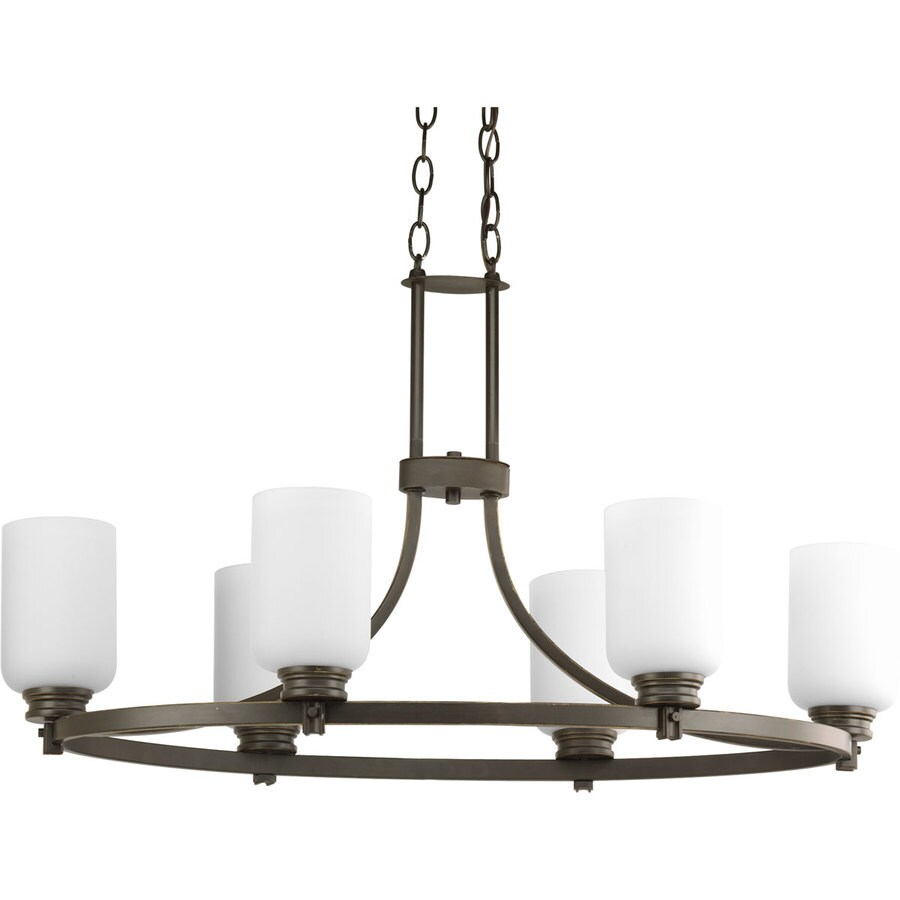 Progress Lighting Orbitz 32-in 6-Light Antique Bronze Etched Glass Shaded Chandelier