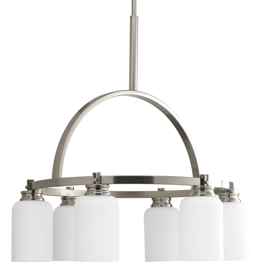 Progress Lighting Orbitz 24-in 6-Light Brushed nickel Etched Glass Shaded Chandelier