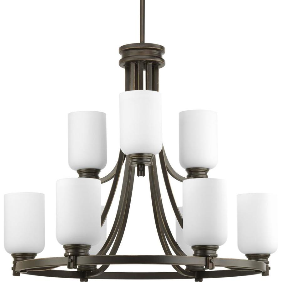 Progress Lighting Orbitz 27-in 9-Light Antique Bronze Etched Glass Tiered Chandelier