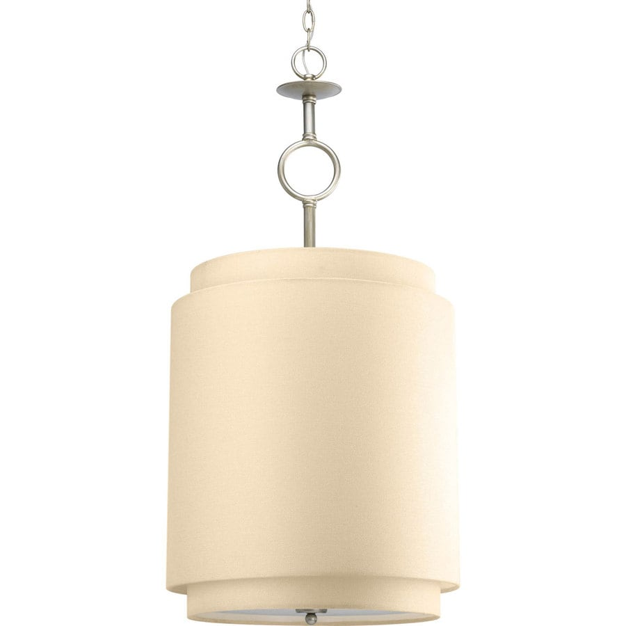 Progress Lighting Ashbury 18-in Silver Ridge Single Cylinder Pendant