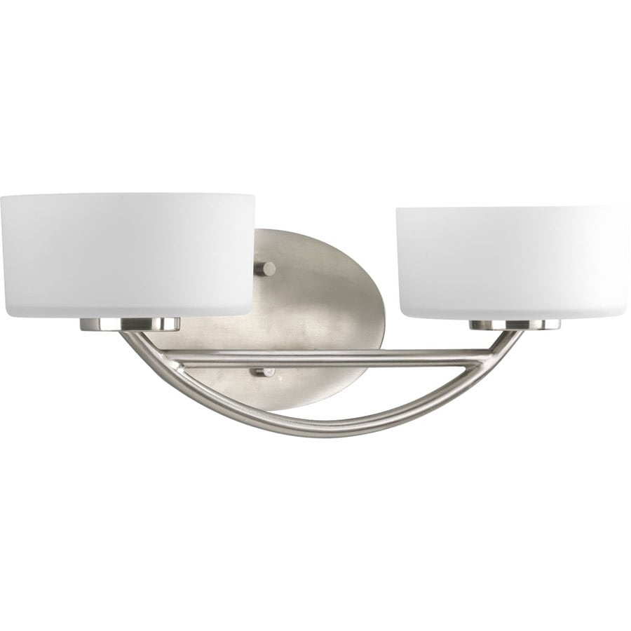 Progress Lighting Calven 2-Light 6-in Brushed Nickel Drum Vanity Light