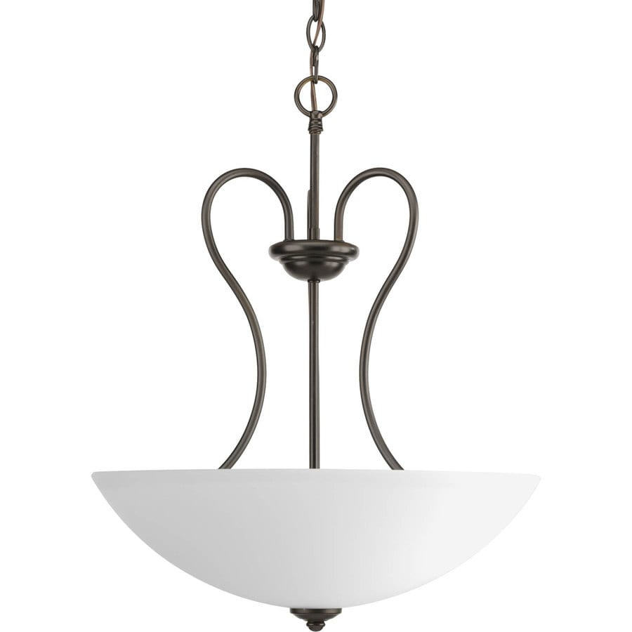 Progress Lighting Heart 17.75-in 3-Light Antique Bronze Etched Glass Shaded Chandelier