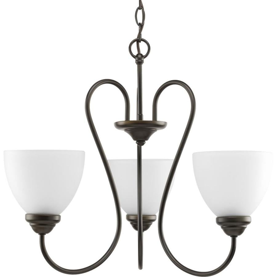 Progress Lighting Heart 22-in 3-Light Antique Bronze Etched Glass Shaded Chandelier