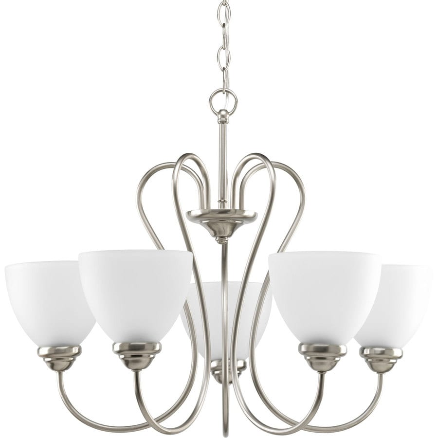 Progress Lighting Heart 25.5-in 5-Light Brushed Nickel Etched Glass Shaded Chandelier