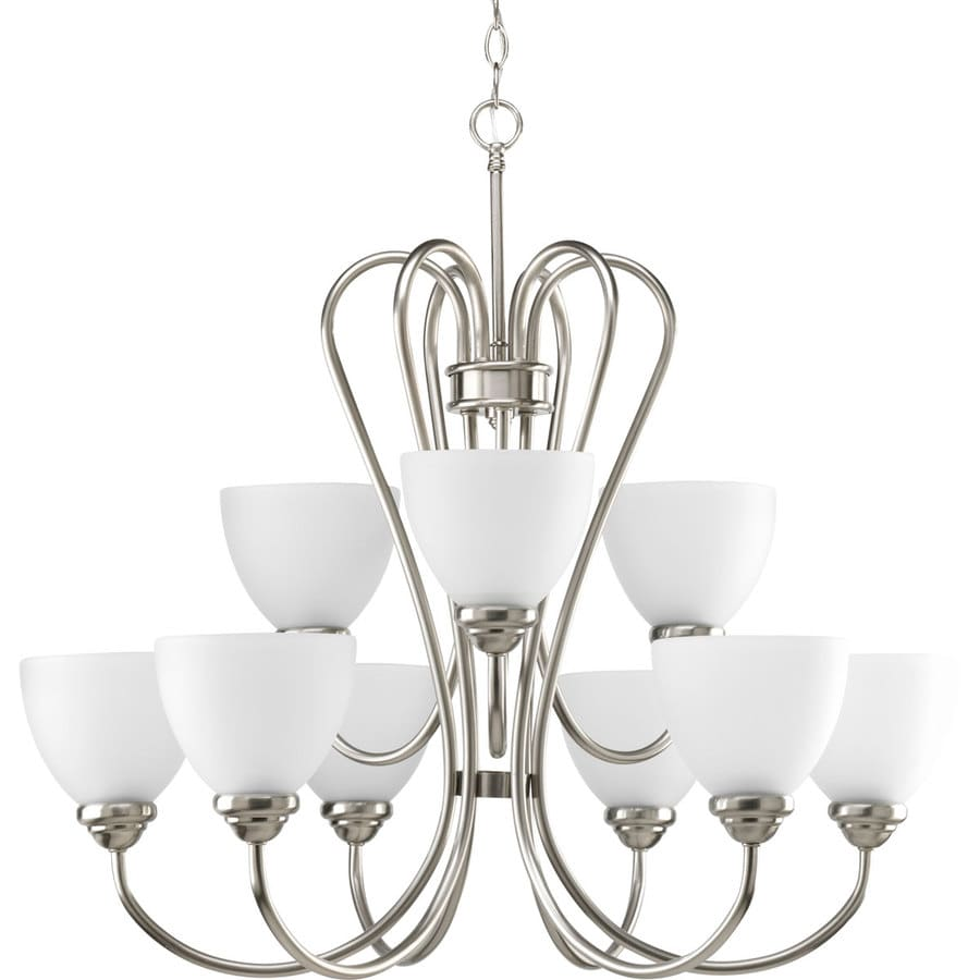 Progress Lighting Heart 30-in 9-Light Brushed Nickel Etched Glass Tiered Chandelier