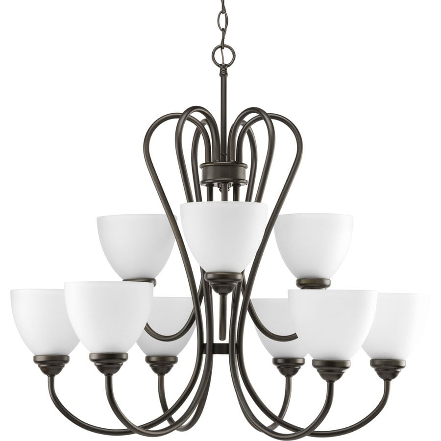 Progress Lighting Heart 30-in 9-Light Antique Bronze Etched Glass Tiered Chandelier