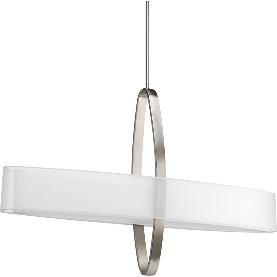 Progress Lighting Cuddle 42-in Brushed Nickel Single Drum Pendant