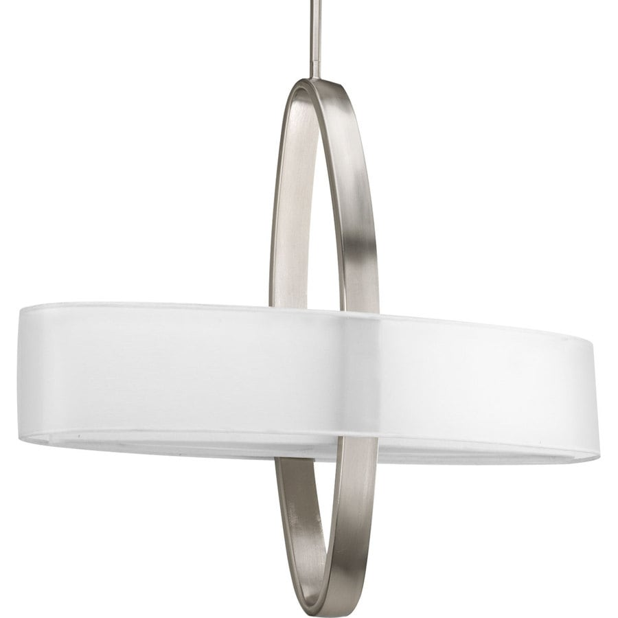 Progress Lighting Cuddle 24-in Brushed Nickel Single Drum Pendant