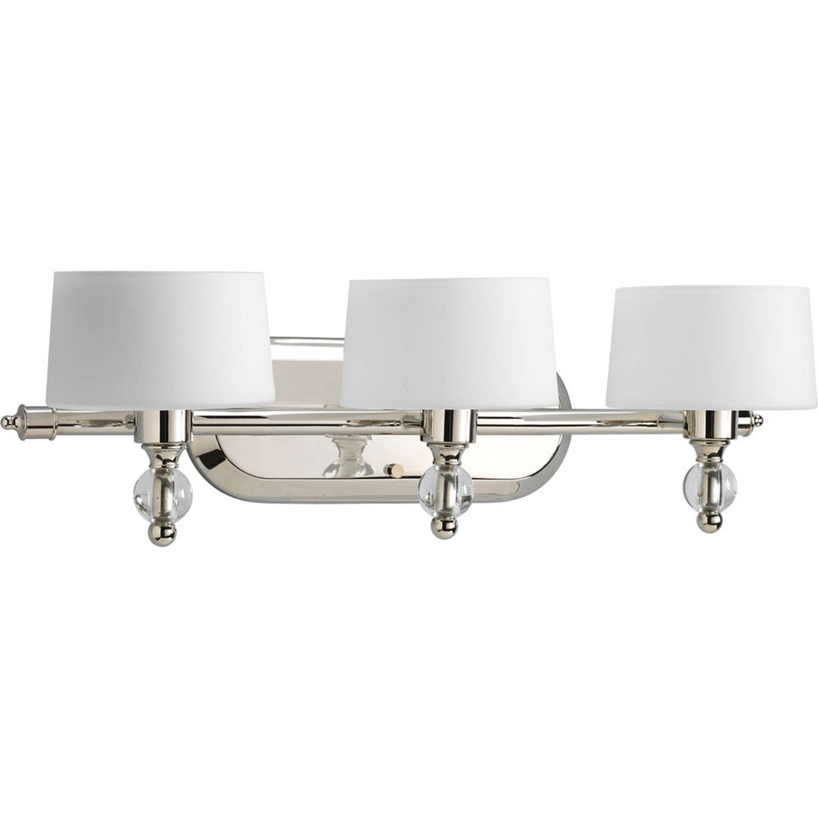 Bathroom Lighting Fixtures Polished Nickel shop progress lighting fortune 3-light 7.25-in polished nickel
