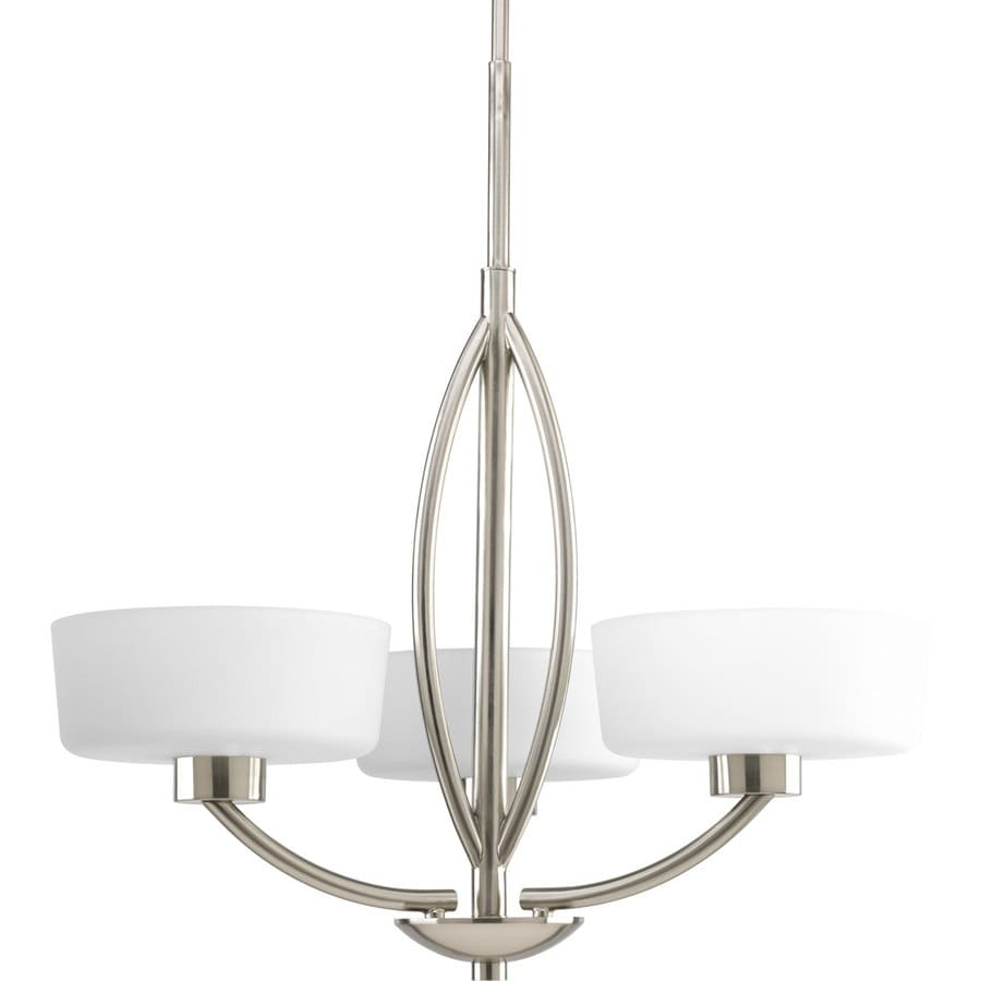 Progress Lighting Calven 25-in 3-Light Brushed nickel Etched Glass Shaded Chandelier