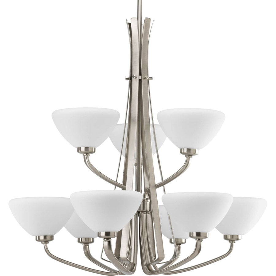 Progress Lighting Rave 27-in 9-Light Brushed Nickel Etched Glass Tiered Chandelier