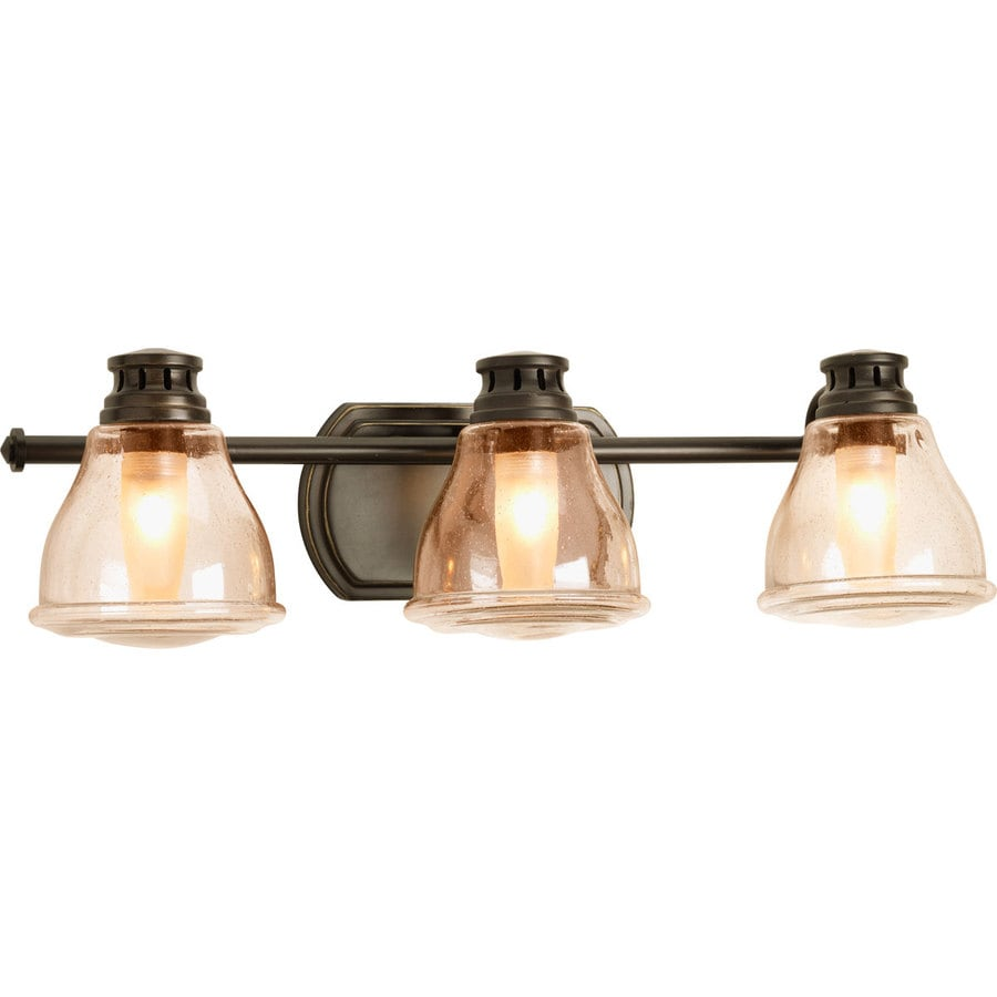 Shop Progress Lighting Academy 3-Light 8-in Antique Bronze Schoolhouse Vanity Light at Lowes.com