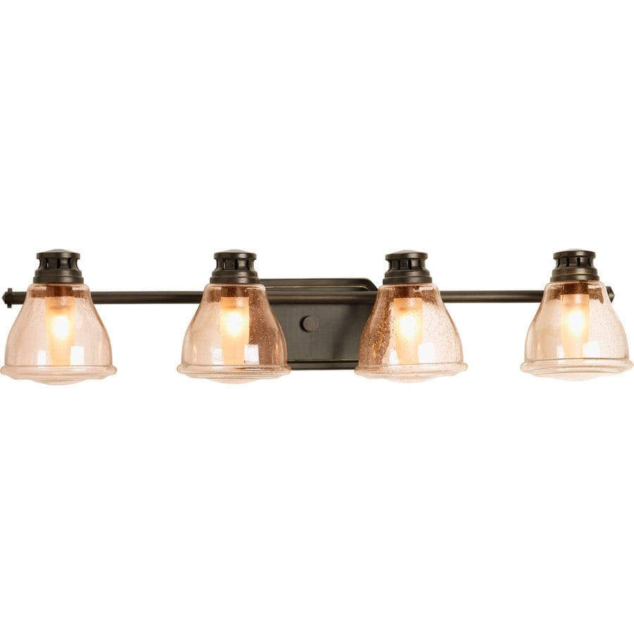 Progress Lighting Academy 4-Light 8-in Antique Bronze Schoolhouse Vanity Light