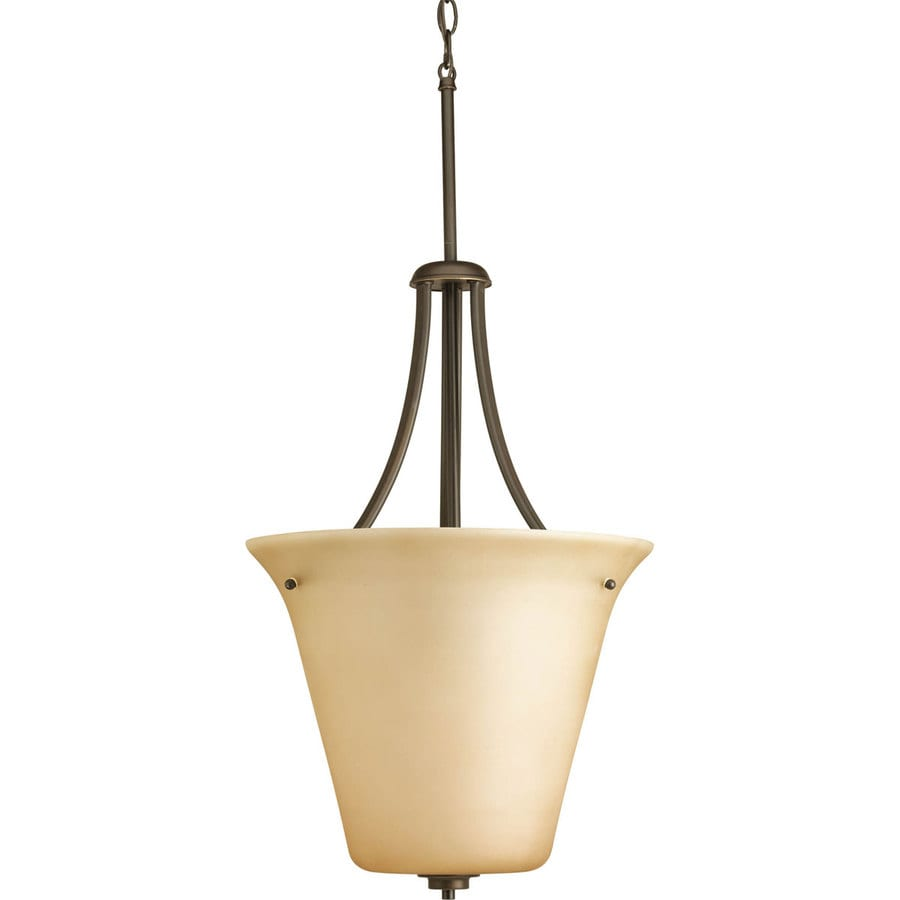 Progress Lighting Joy 15.75-in 1-Light Antique Bronze Tinted Glass Shaded Chandelier