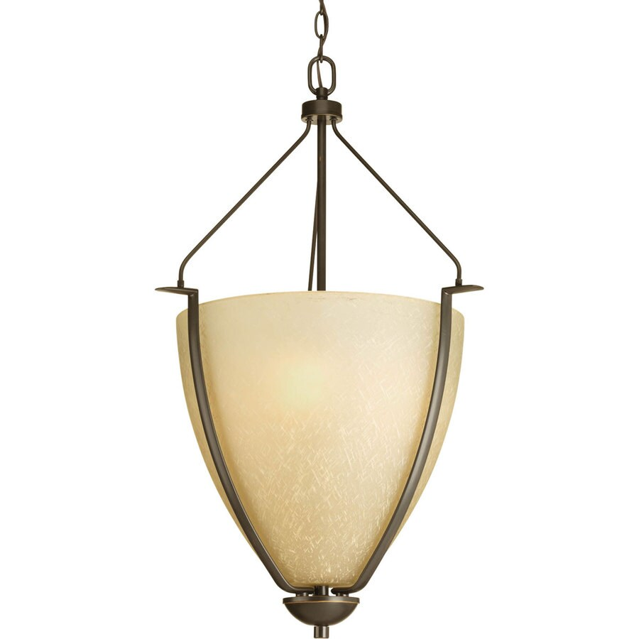 Progress Lighting Bravo 20-in 3-Light Antique Bronze Tinted Glass Shaded Chandelier