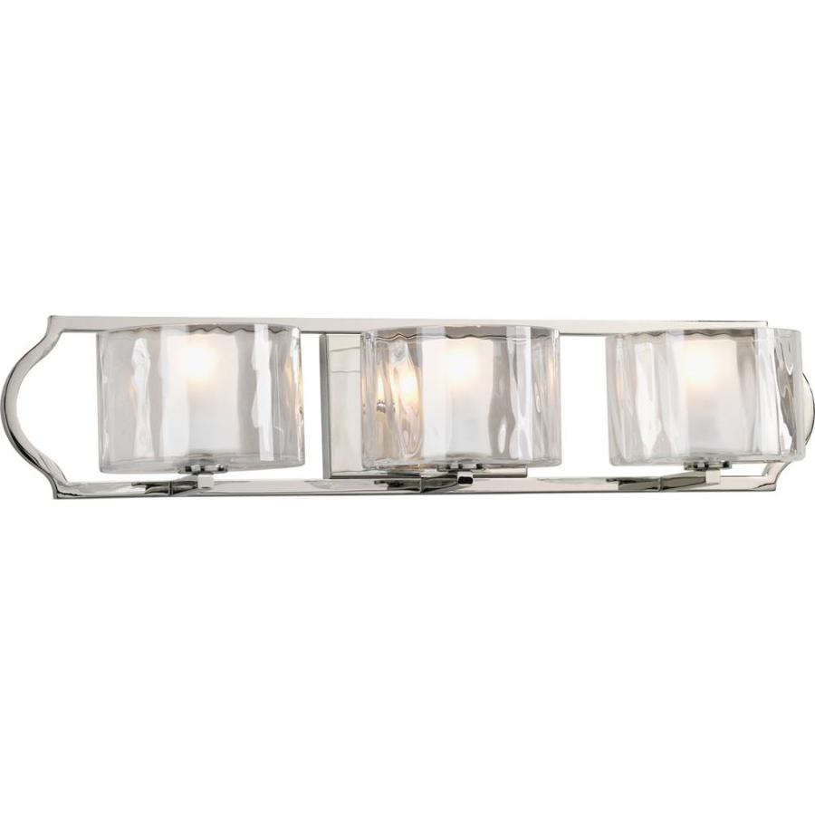 Progress Lighting Caress 3-Light 5.625-in Polished nickel Square Vanity Light