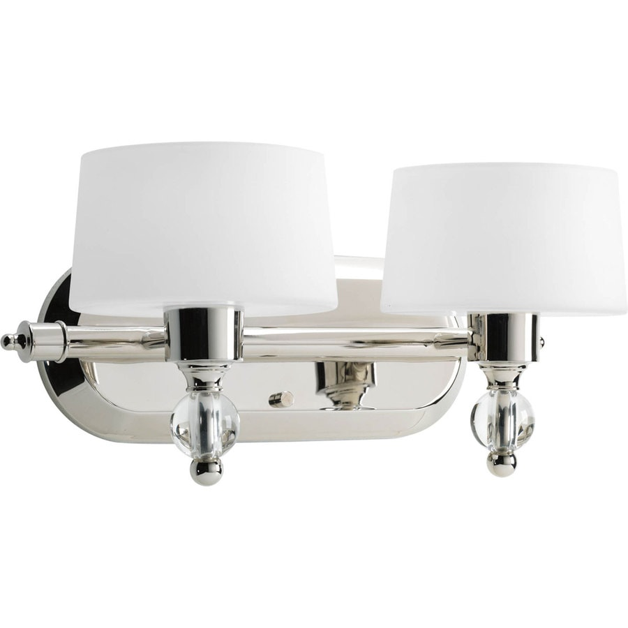 Polished Nickel Bathroom Vanity Light: Progress Lighting Fortune 2-Light 15-in Polished Nickel