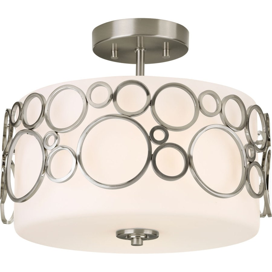 Progress Lighting Bingo 14-in W Brushed Nickel Frosted Glass Semi-Flush Mount Light