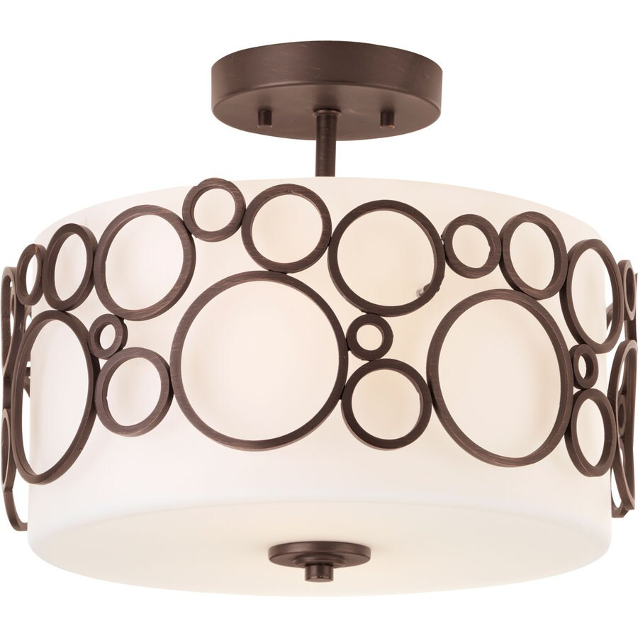 Progress Lighting Bingo 14-in W Venetian Bronze Frosted Glass Semi-Flush Mount Light