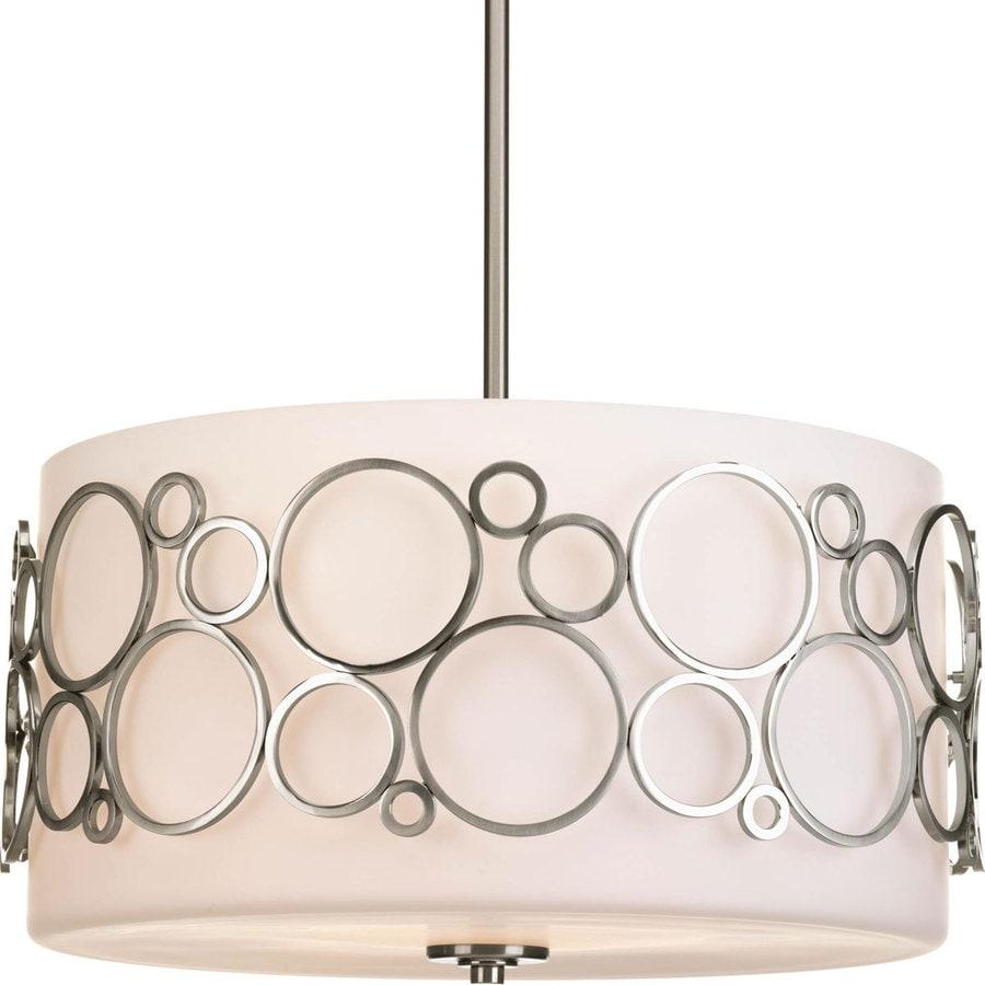 Progress Lighting Bingo 18-in 3-Light Brushed Nickel Etched Glass Drum Mini Chandelier