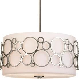 progress lighting bingo 18in 3light etched glass drum mini chandelier