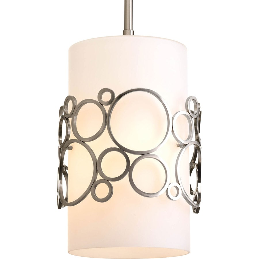 Progress Lighting Bingo 8-in Brushed Nickel Mini Etched Glass Cylinder Pendant
