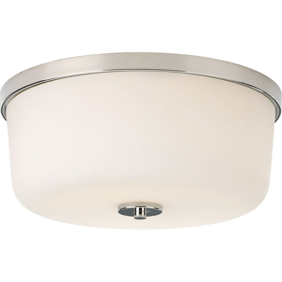 Progress Lighting Fortune 13.25-in W Polished Nickel Standard Flush Mount Light