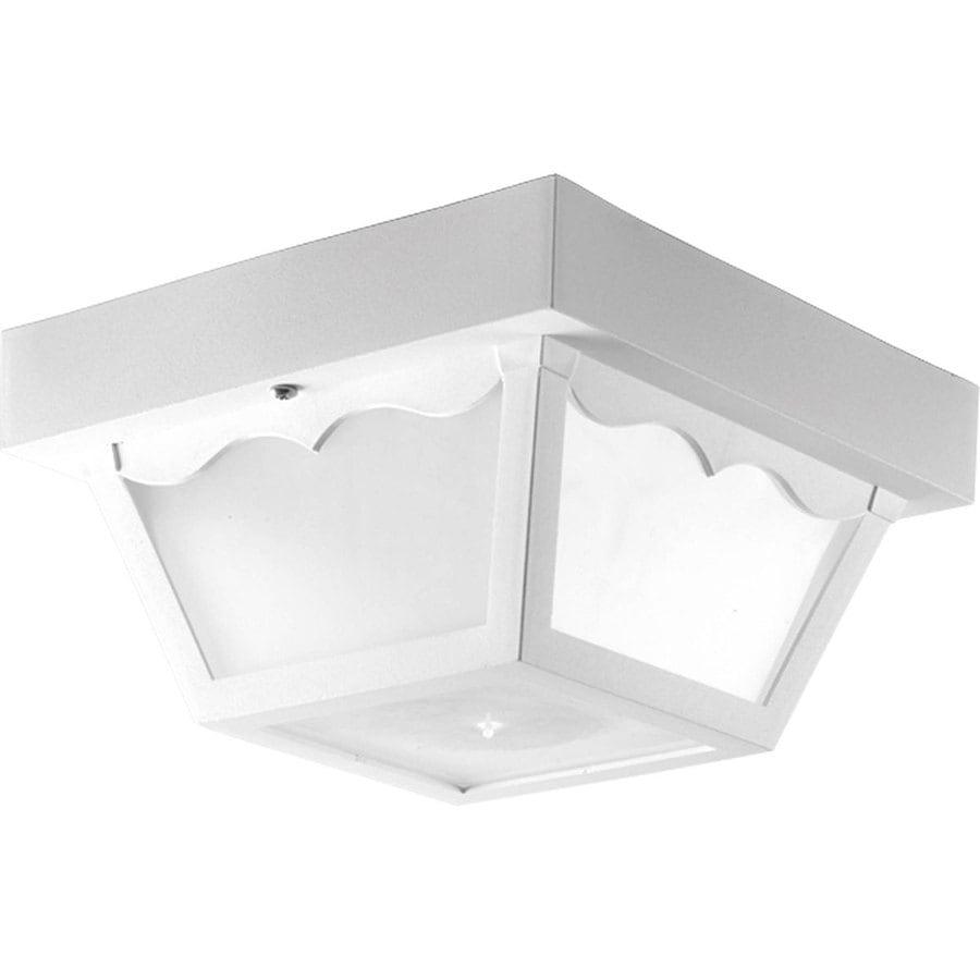 Progress Lighting Polycarbonate 8.25-in W White Outdoor Flush-Mount Light ENERGY STAR