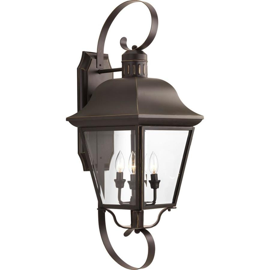 Large Rustic Finish Lantern Wall Mounted Light Sconce: Shop Progress Lighting Andover 34.25-in H Antique Bronze