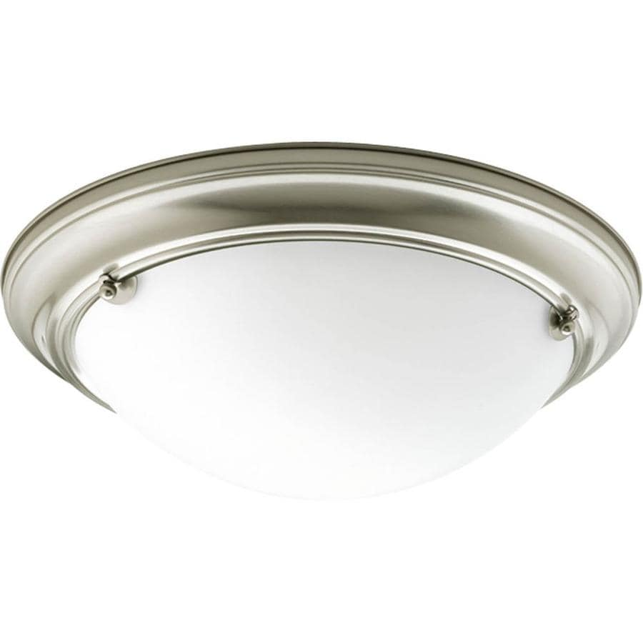 Progress Lighting Eclipse 15.25-in W Brushed Nickel Flush Mount Light